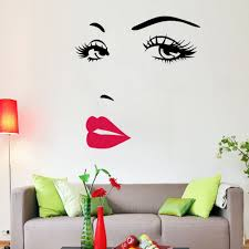 marilyn monroe face eyes red lip art wall sticker wall decals