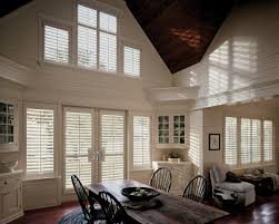 Rustic Dining Room Decorating Appealing Plantation Blinds With Wood Ceiling And