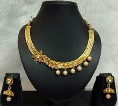 neck necklace gold images Golden neck tight necklace set jpg