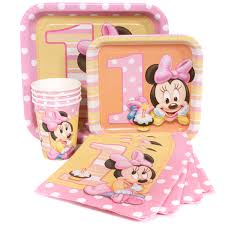 baby minnie mouse 1st birthday minnie mouse 1st birthday party supplies package for 8 at dollar
