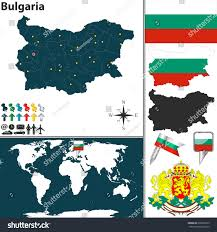 Map Of Bulgaria Vector Map Bulgaria Regions Coat Arms Stock Vector 206656813