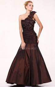 dark brown one shoulder sequined retro wedding guest dress