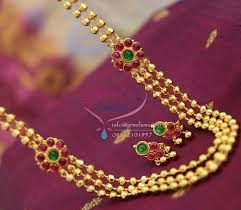 gold plated beads necklace images Nl1154 gold plated temple kempu jewelry beads red green stones jpg