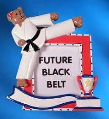 personalized karate kick ornament blond 13