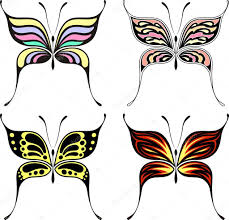 set of four butterflies designs isolated on white background