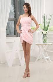 blush cute spaghetti sleeveless chiffon short ruching wedding