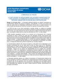 bureau de coordination des affaires humanitaires centrafrique il faut agir maintenant pour éviter une nouvelle