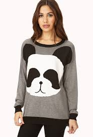 forever 21 panda pal sweater in black lyst