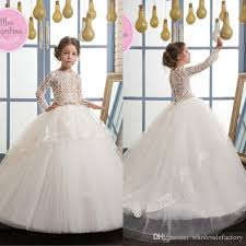beautiful white lace appliques flower dresses princess ball