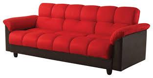 Futon Sofa Bed With Storage Modern Red Microfiber Pu Leather Adjustable Storage Futon Sofa Bed