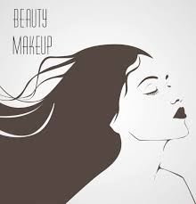 makeup banner attractive woman sketch black white design vector