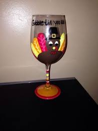 thanksgiving painted wine glass turkey wine glass my