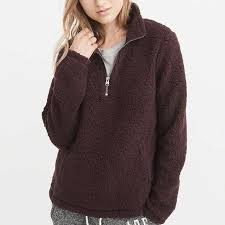 abercrombie fitch sherpa half zip pullover rank style
