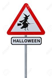 a halloween road sign with a flying witch silhouette isolated
