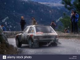 peugeot cars 1985 bruno saby no 8 peugeot 205 t16 rally car on a stage of 1985