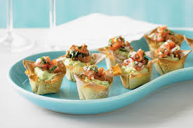 canape cups recipes avocado and cherry tomato salsa wonton cases