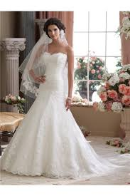 mermaid trumpet strapless lace wedding dress with chapel train