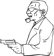 a man with a gun coloring page free printable coloring pages