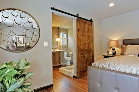 interior modern bedroom design using brown tiger wood single side