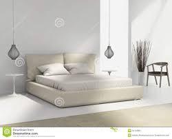 Schlafzimmer Design Beige Weißes Und Beige Schlafzimmer Mit Stuhl Und Lampen Stock Abbildung