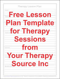 lesson plan template speech therapy free lesson plan form for therapy sessions lesson plan templates