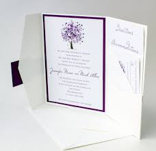 purple tree wedding invitation bellus designs