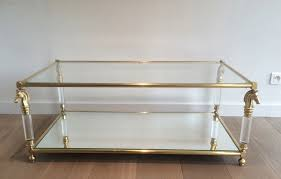 Lucite Bench For Sale Brass And Lucite Coffee Table With Horse Head Motifs 1960s For