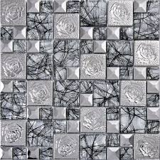 Tile Stickers For Kitchen Silver 304 Stainless Steel Flower Patterns Mosaic Metal Glass