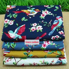 Sofa Fabric Stores Aliexpress Com Buy Birds Floral Print Linen Material Cotton