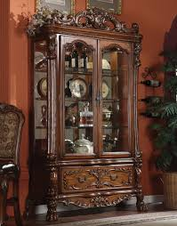 dining room curio acme dresden curio in brown cherry oak 12158 special by dining