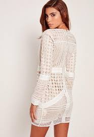 lace dresses white lace plunge bodycon dress missguided