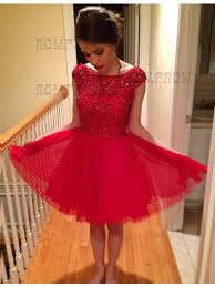 buy a line bateau cap sleeves knee length red homecoming dress