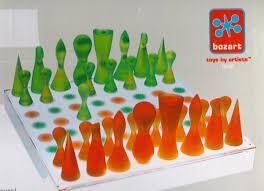 amazon com rare karim rashid orange u0026 green chess set by bozart