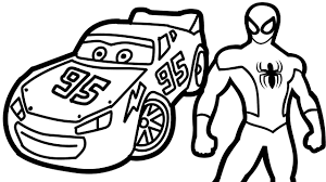 lightning mcqueen coloring page spiderman and lightning mcqueen
