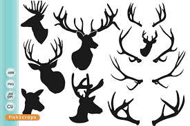 deer head silhouettes clipart illustrations creative market