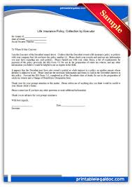 free printable life insurance policy collection by executor
