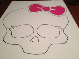 monster high decorations with a sketch of the head of a skull