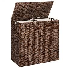 Laundry Hampers With Lid by Water Hyacinth Double Laundry Hamper Espresso U2013 Best Choice Products