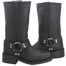 womens leather boots xelement 2442 s black grain leather harness