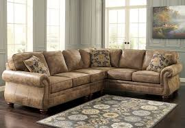Floral Couches Furniture Elegant Brown Leather Sectional Couches With Floral