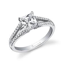 cheap princess cut engagement rings thérésa princess cut engagement ring with split shank sy401