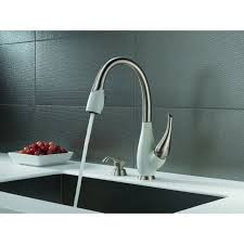 modern faucets kitchen delta fuse two tone lead free single handle pull out kitchen faucet
