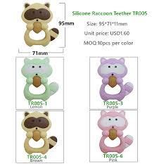silicone raccoon teether silicone baby teether huizhou melikey