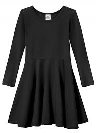 girls soft cotton jersey long sleeve twirly black dress city threads