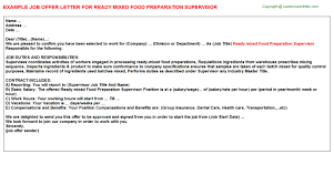 Food Prep Job Description Resume by Ready Mixed Food Preparation Supervisor Offer Letter