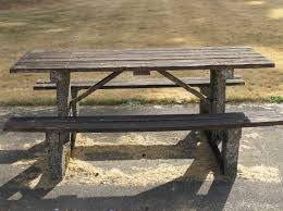 Diy Small Round Wood Park Picnic Table With Detached Octagon Bench by Old Park Picnic Table And Bench Seat With Reclaimed Wooden Top And