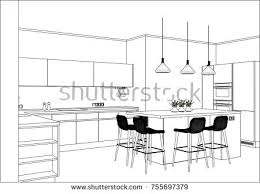 3d vector sketch modern kitchen design stock vector 730102684