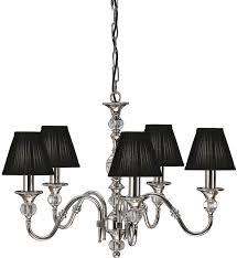 Classic Chandelier Polina Nickel 5 Light Classic Chandelier With Black Shades 63582