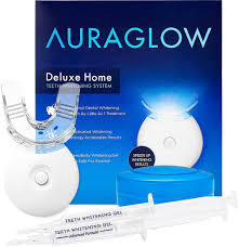 how to use teeth whitening kit with light deluxe home teeth whitening kit led light system auraglow