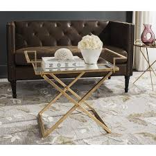 Antique Accent Table Gold Criss Cross Base Accent Table